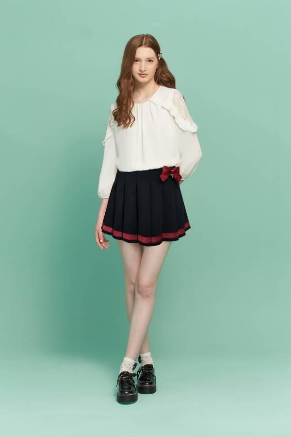 英倫LOGO織帶百褶裙 百褶裙,短裙,黑裙,英倫短裙