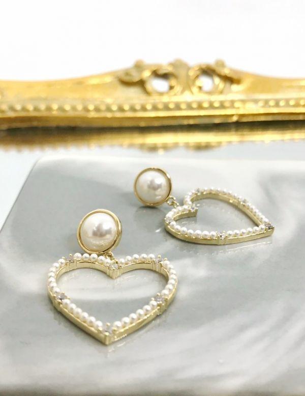 鏤空愛心珍珠耳環