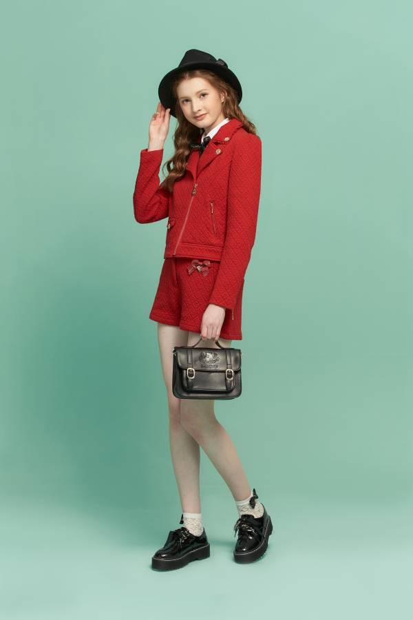 愛心菱格緹花騎士外套 愛心外套,騎士外套,外套,紅色外套