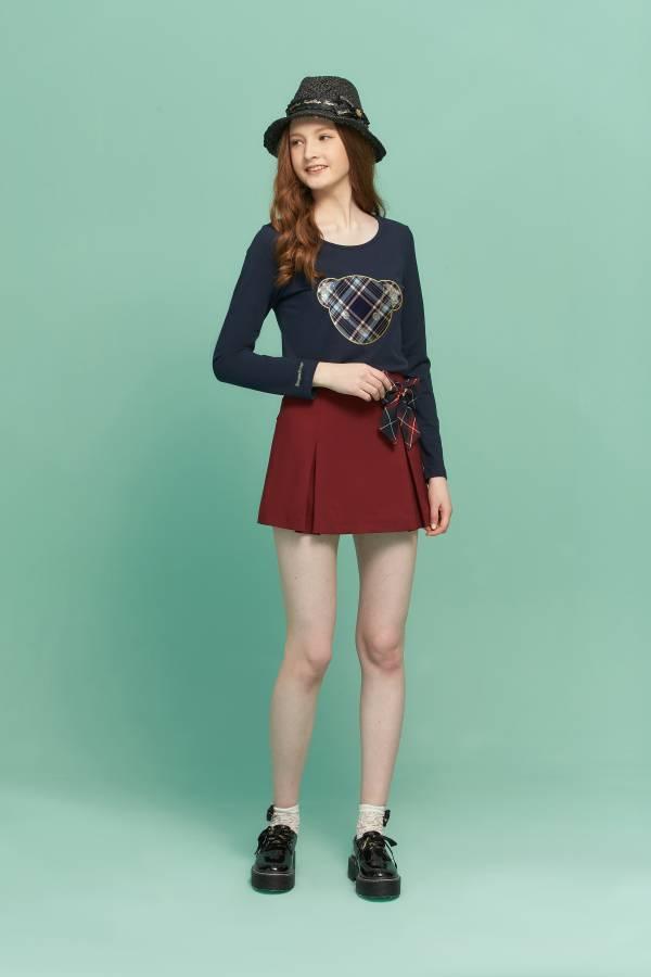 前打褶假裙片短褲 裙片短褲,短褲