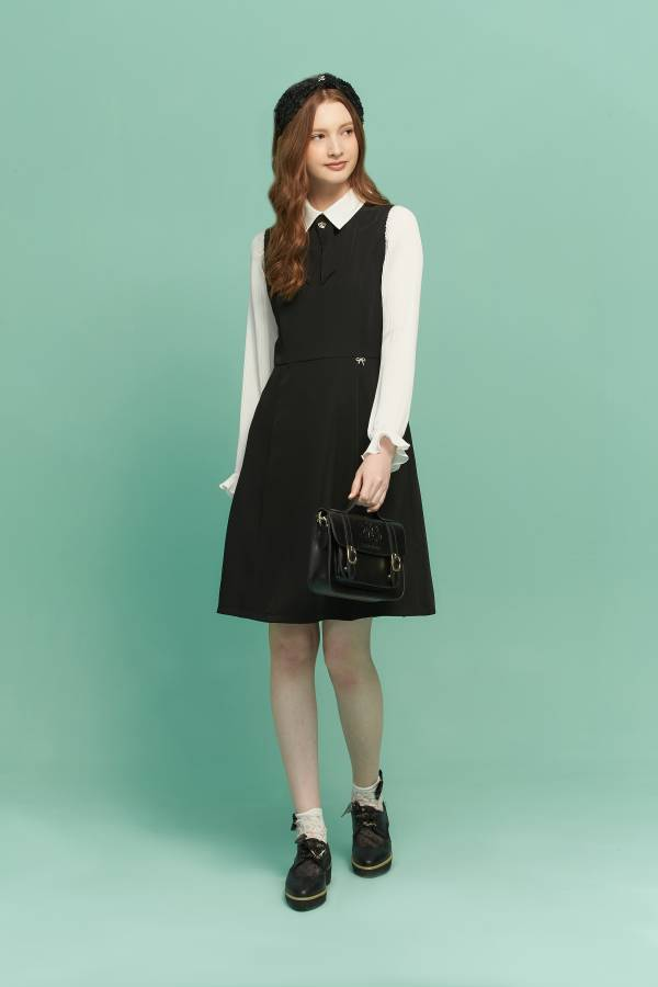 英倫黑白假兩件洋裝 黑白洋裝,假兩件洋裝,洋裝
