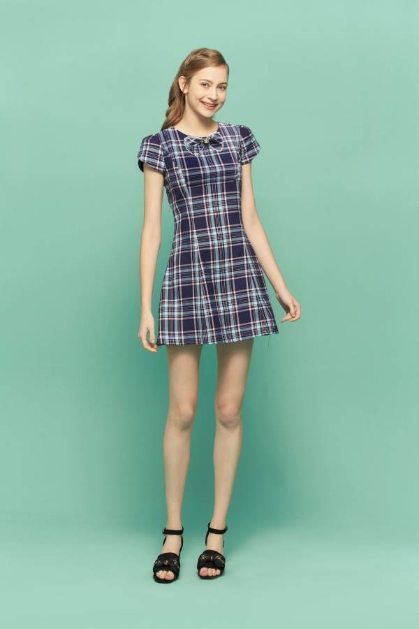 新藍格甜美蝴蝶結洋裝 藍格蝴蝶結洋裝,藍格洋裝,蝴蝶結洋裝,洋裝