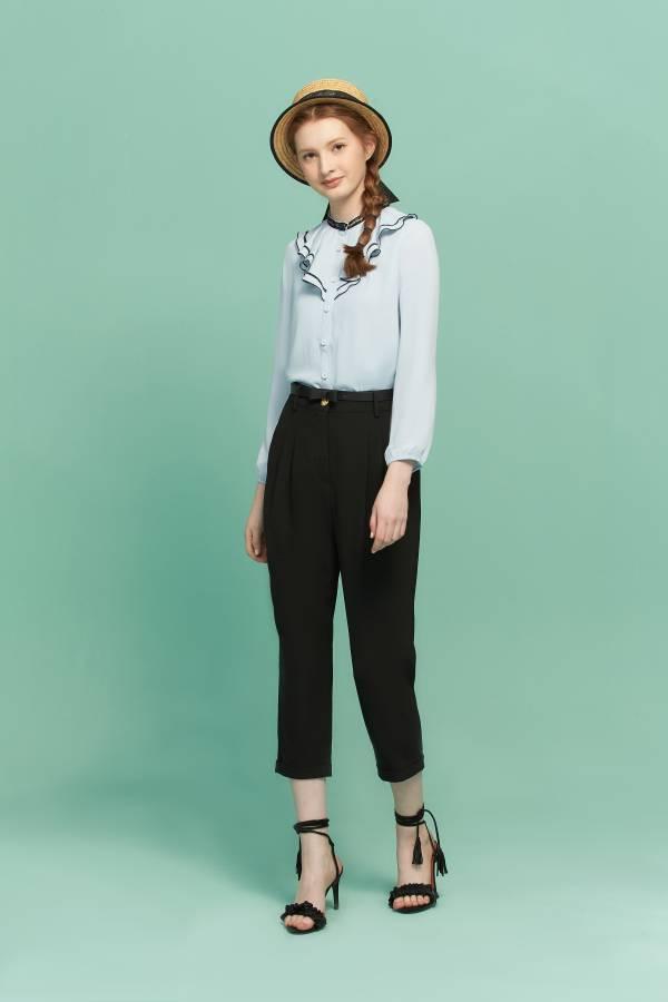 甜美荷葉領襯衫 襯衫, 水藍襯衫