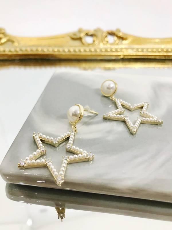 珍珠星星耳環