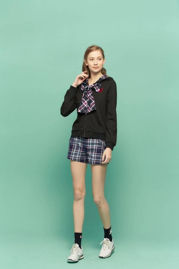 新藍格蝴蝶結口袋短褲 蝴蝶結,藍格短褲,藍格蝴蝶結短褲,短褲,口袋短褲
