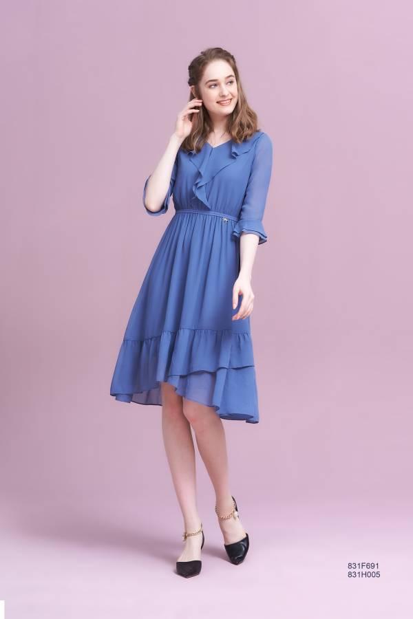 優雅荷葉領洋裝