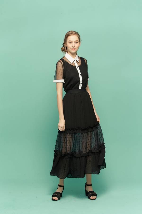 透視點點荷葉裝飾裙