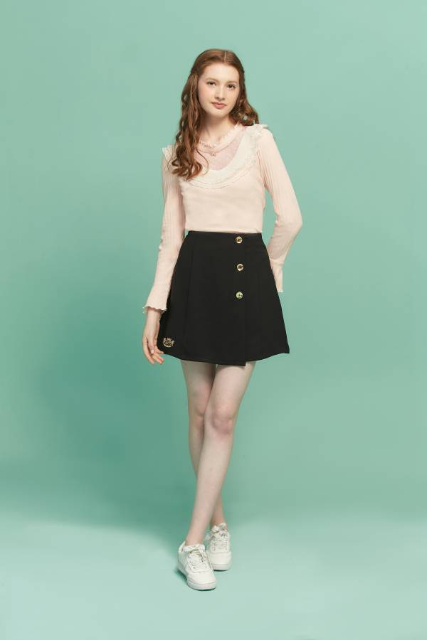 金釦裝飾假一片窄裙 金釦裙,窄裙,短裙