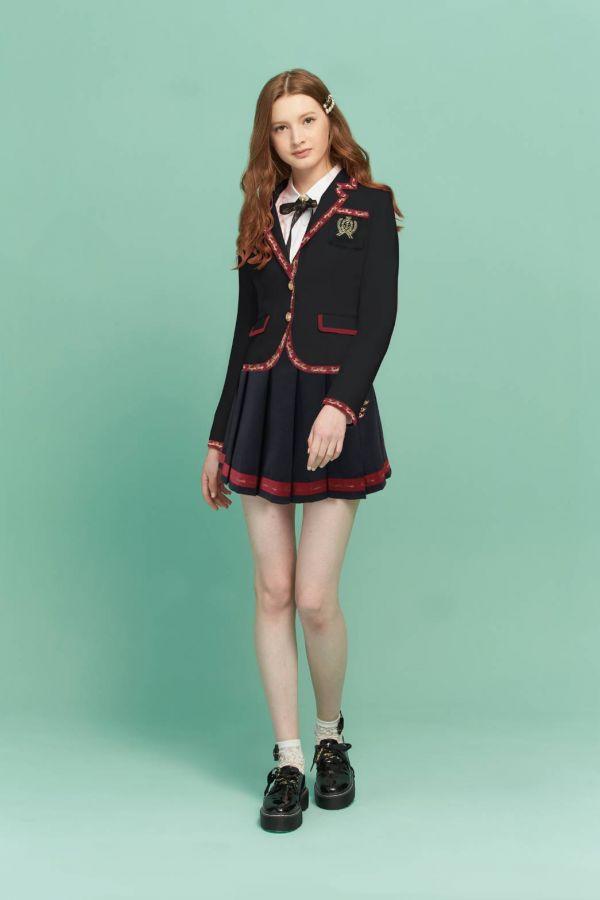 英倫LOGO織帶西裝外套 黑色外套,學院風,英倫風,西裝外套