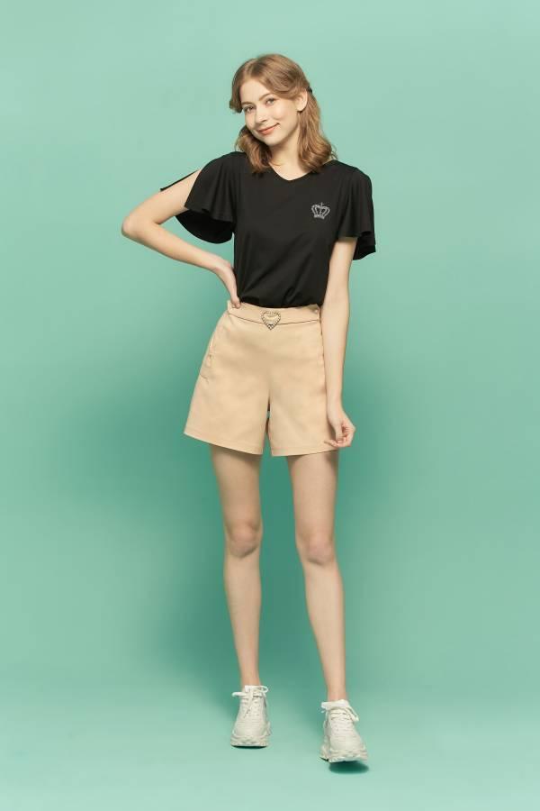 美背蕾絲荷葉袖T恤