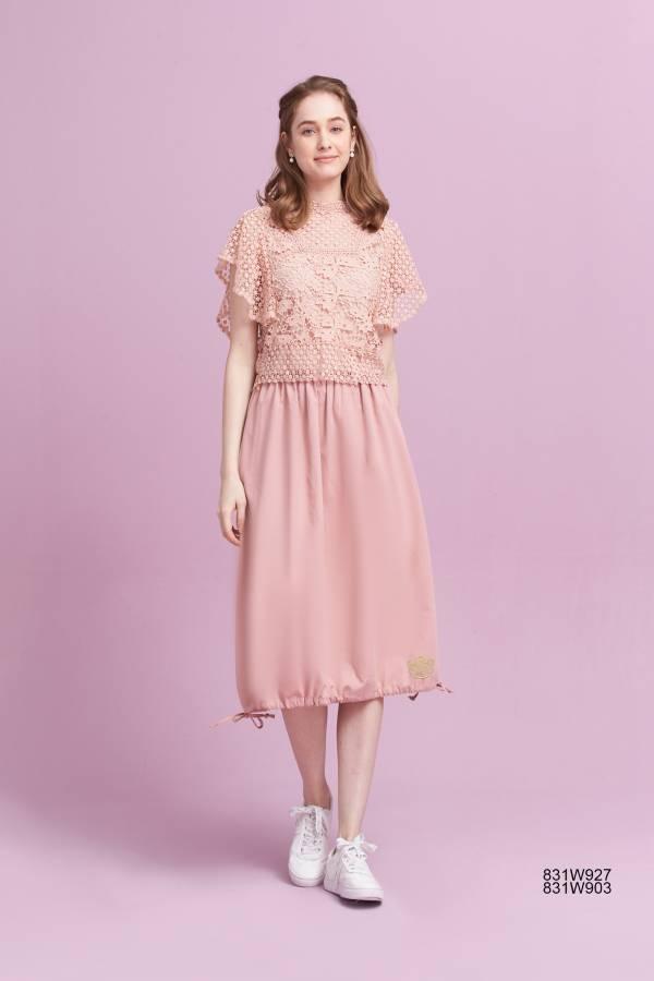 棉質裙襬抽繩裙