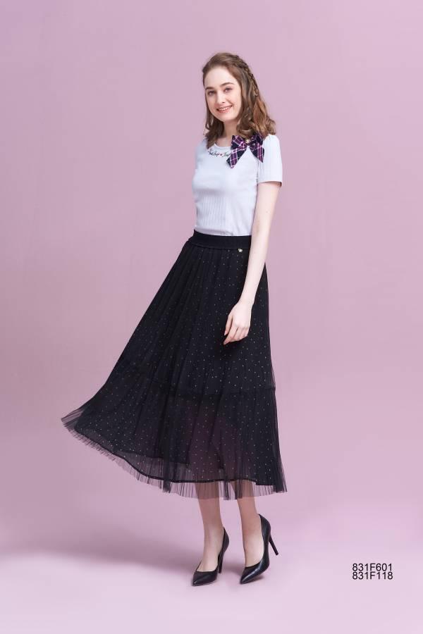 網紗壓褶波點長裙