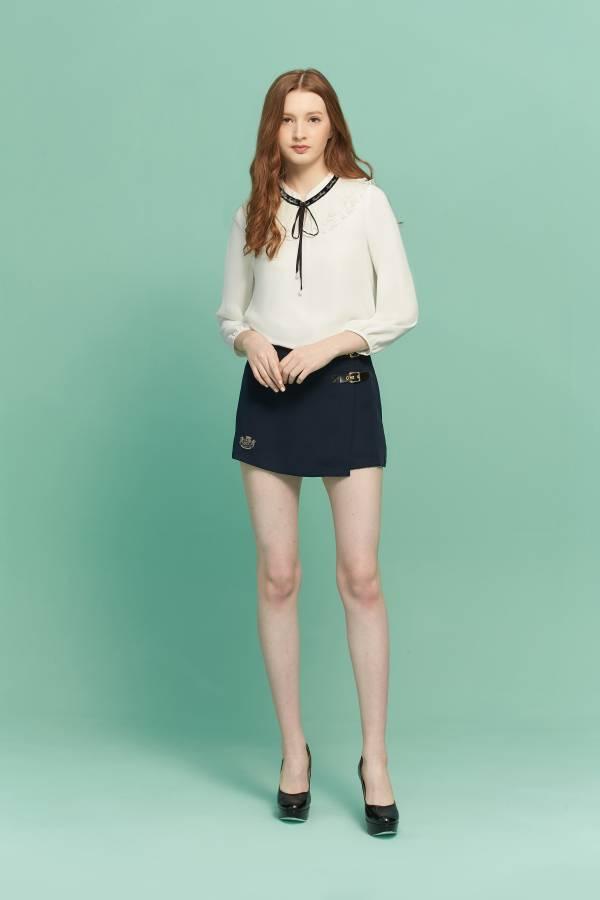 雙皮釦假裙片短褲 褲裙,裙子,假褲子,假裙片短褲