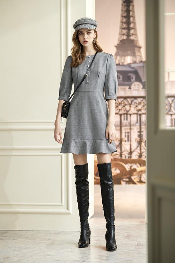 銀藍蔥交織黑白格紋洋裝