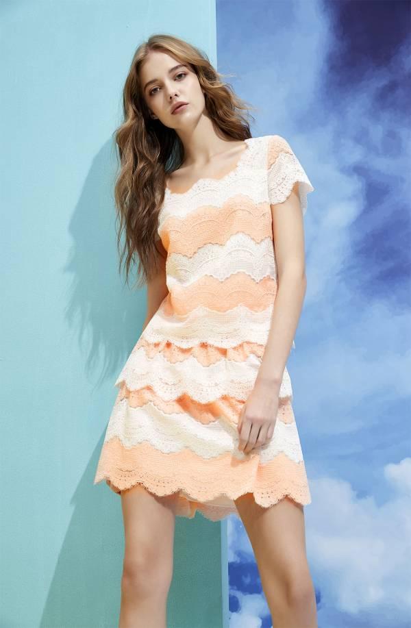 雙色蕾絲短裙