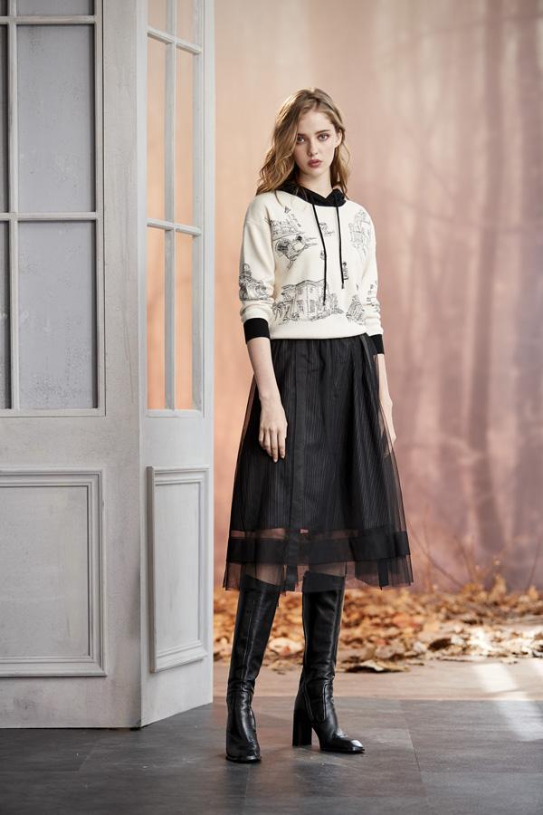 網紗條理款裙