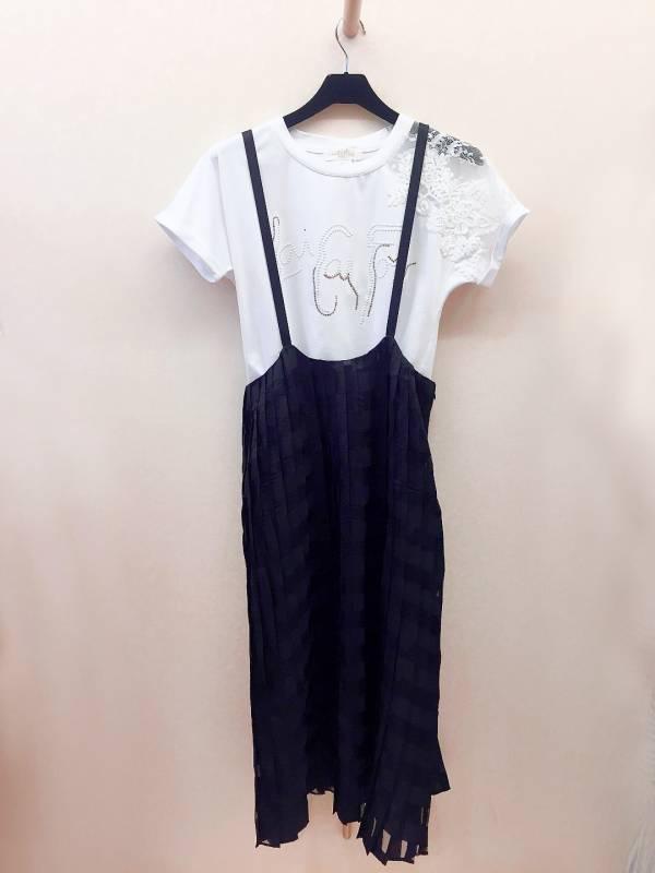 格紋百褶吊帶裙