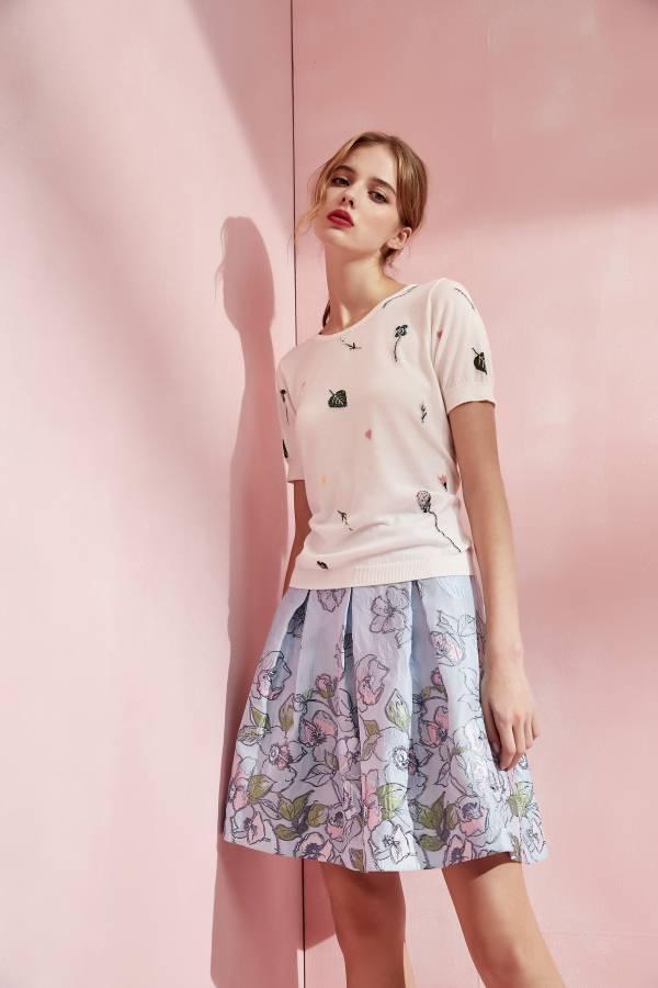 雙色花朵緹花短裙