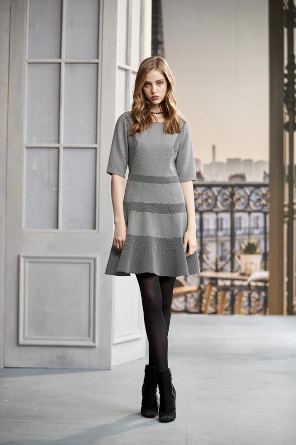 黑白細格紋剪接洋裝