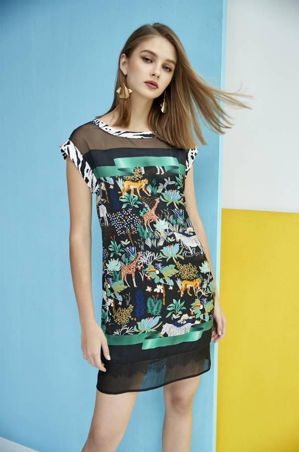 叢林印花拼接落袖洋裝