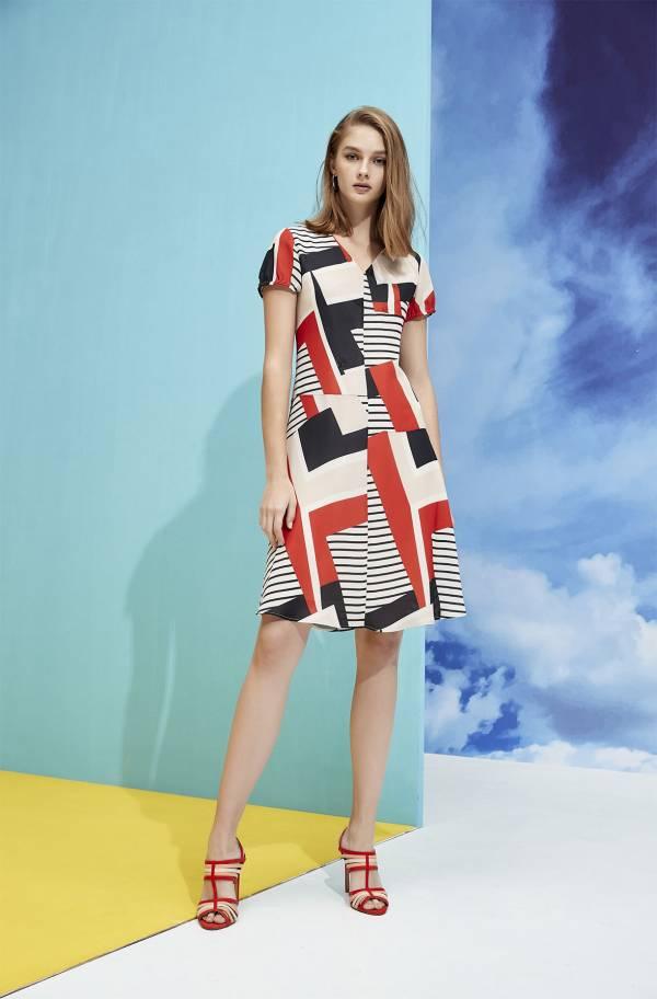 幾何條紋洋裝
