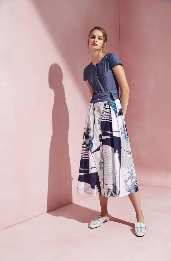 異素材剪接假二件式洋裝