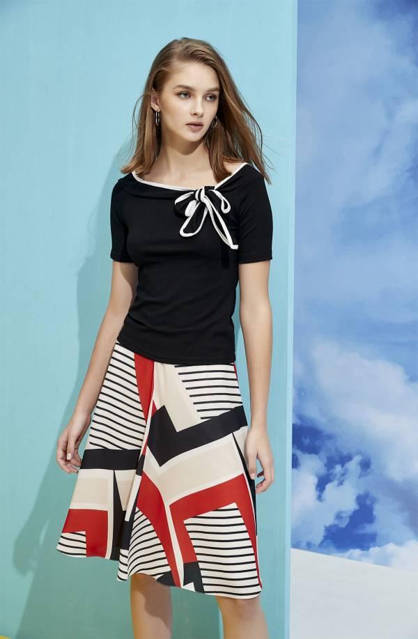 幾何色塊條紋裙