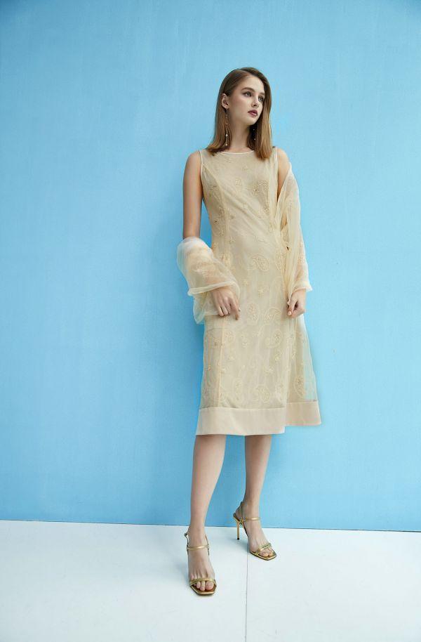 透感珠繡洋裝+披肩