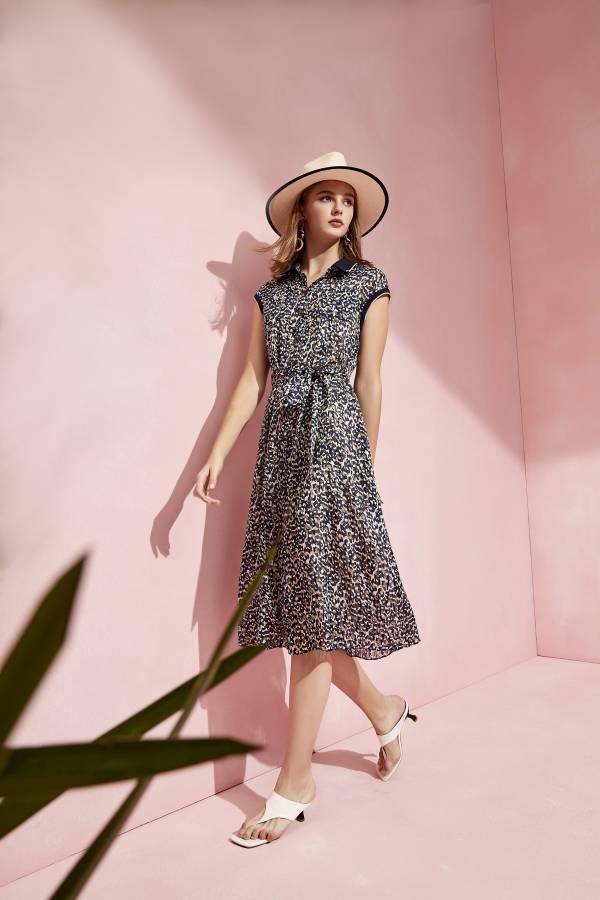 豹紋印花綁帶洋裝
