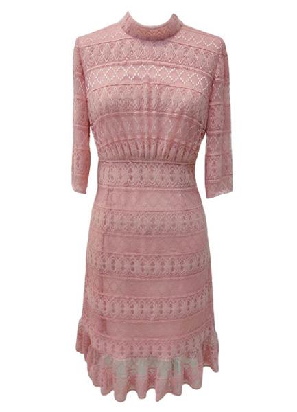 條紋蕾絲洋裝
