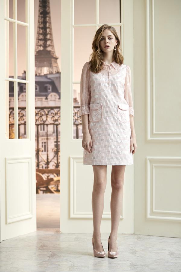 銀蔥條紋拼接蕾絲假二件洋裝
