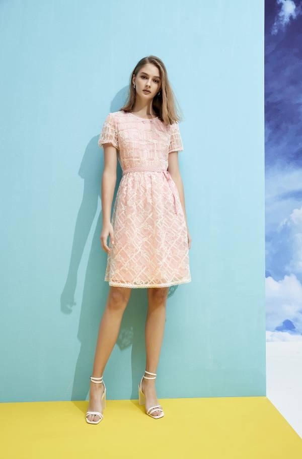 雙色格紋繡花洋裝