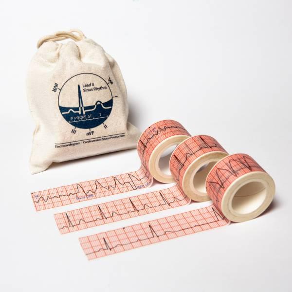 心電圖組合包(束口袋+三捲紙膠帶) 心電圖, 紙膠帶