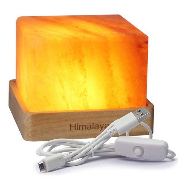 鹽燈喜馬拉雅水晶鹽燈創意時尚臥室書房檯燈USB小夜燈