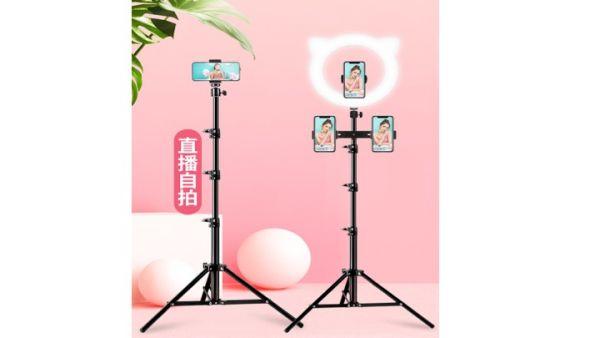直播支架主播桌面補光燈落地三腳架多功能手機支架 懶人手機架