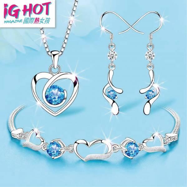 藍托帕石純銀項鍊耳環女三件套