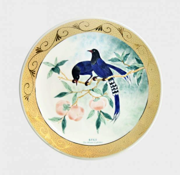 Taiwan Blue Magpie Gold-Rimmed Painted Plate