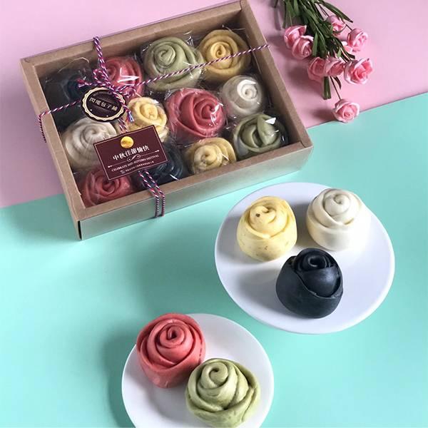 玫瑰花饅頭禮盒 中秋節禮盒,手工饅頭,伴手禮,伴手禮,玫瑰花饅頭