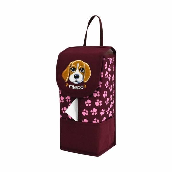 【YL】GS105 米格魯狗面紙套 -紅 面紙套,衛生紙盒,收納,車用收納,置物