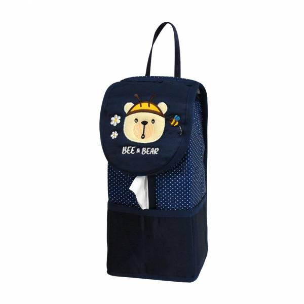 【YL】F105 蜜蜂熊面紙套 -藍 面紙套,衛生紙盒,收納,車用收納,置物