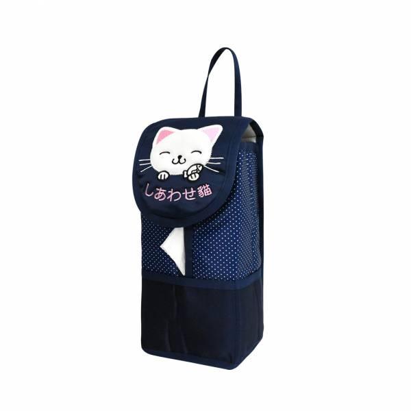 【YL】F104 幸福貓面紙套 -藍 面紙套,衛生紙盒,收納,車用收納,置物