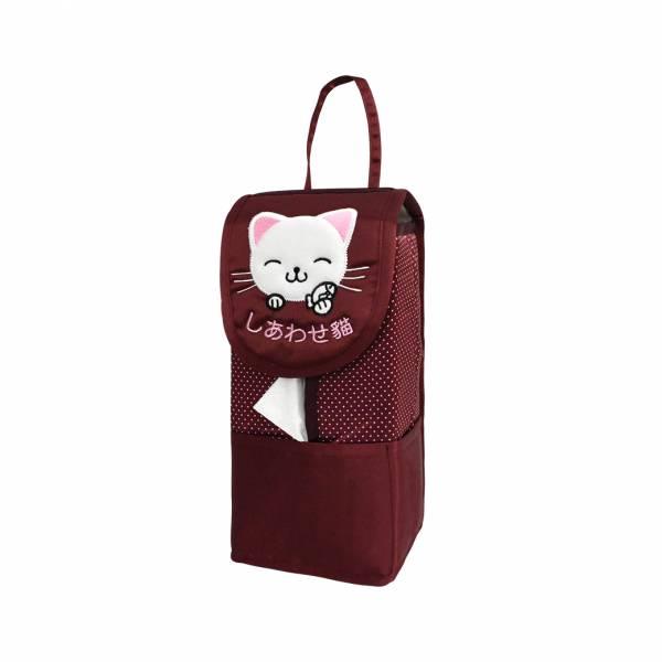【YL】F104幸福貓面紙套 -紅 面紙套,衛生紙盒,收納,車用收納,置物