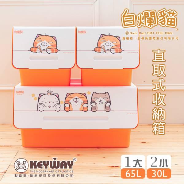 新款 白爛貓直取式收納箱(2小+大) 掀蓋內收式,塑膠箱,衣物收納,收納箱,置物箱