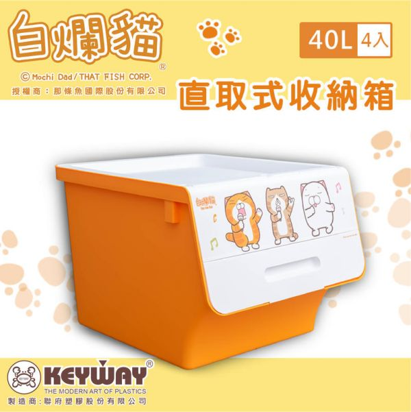 白爛貓直取式收納箱 40L (四入) 掀蓋內收式,塑膠箱,衣物收納,收納箱,置物箱