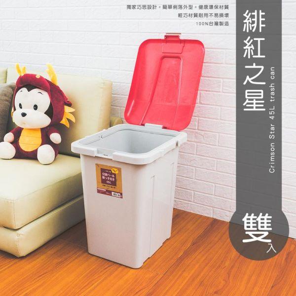 海洋/緋紅之星 大容量收納筒45L (雙入) 兩色可選 集塵桶,垃圾桶,置物桶,分類桶,資源回收桶,儲水桶