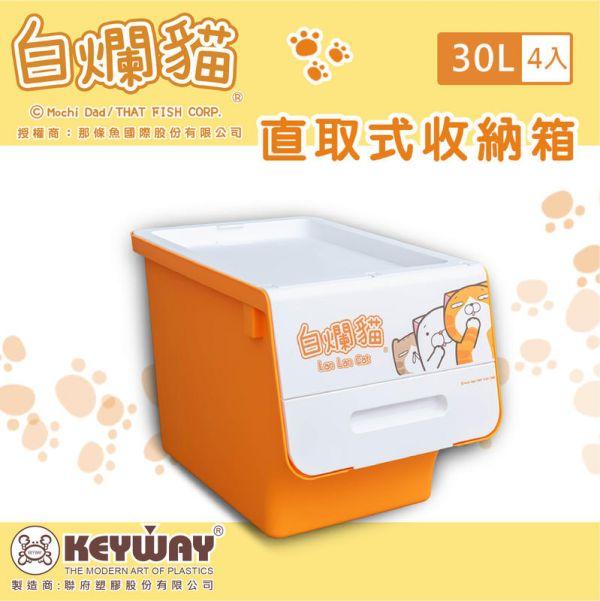 白爛貓直取式收納箱 30L (四入) 掀蓋內收式,塑膠箱,衣物收納,收納箱,置物箱