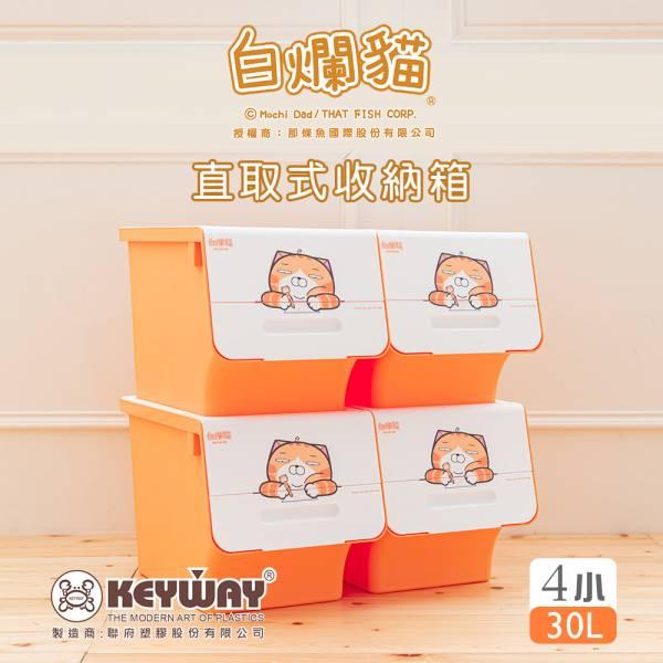 新款 白爛貓直取式收納箱(小) 四入 掀蓋內收式,塑膠箱,衣物收納,收納箱,置物箱