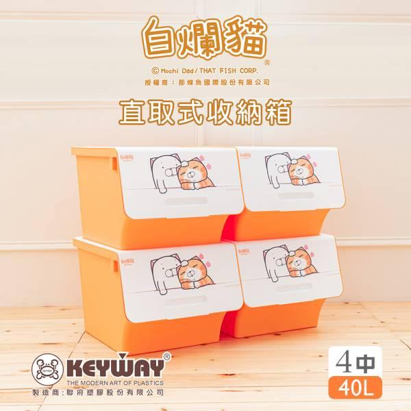 新款 白爛貓直取式收納箱(中) 四入 直取式,白爛貓,官方授權,整理箱,置物箱,塑膠箱,dayneeds