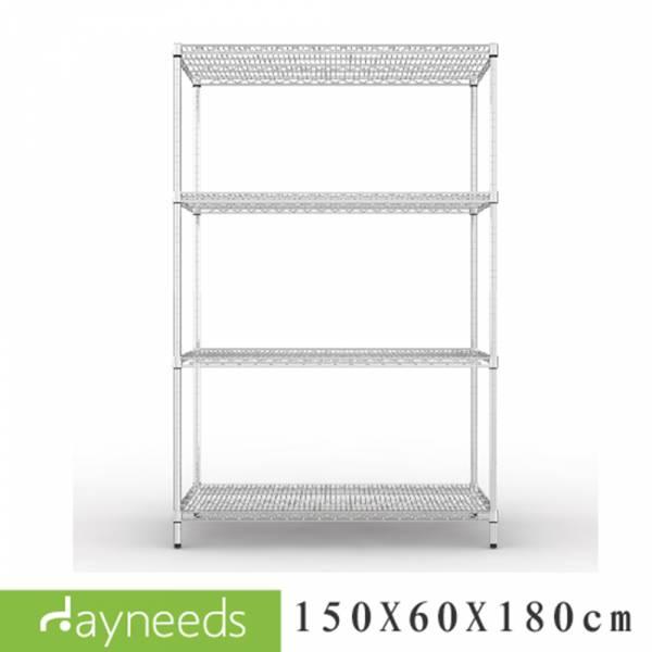 荷重型 150x60x180公分 四層電鍍波浪架 層架,收納架,置物架,鐵力士架,dayneeds