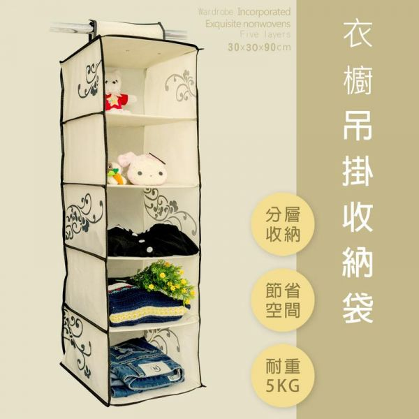 衣櫥吊掛收納袋 米白5格款(二入)